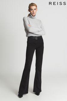Reiss Black Beau High Rise Skinny Flared Jeans