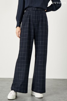 Monsoon Blue Charlie Check Belted Trousers