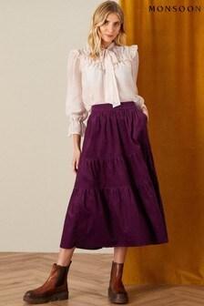 Monsoon Purple Tia Tiered Cord Skirt