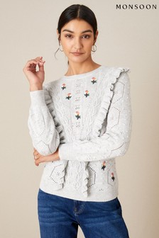 Monsoon Grey Embroidered Ruffle Jumper