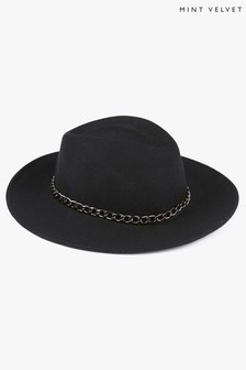 Mint Velvet Black Wool Fedora Hat