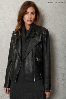 Mint Velvet Black Slim Zip Leather Jacket