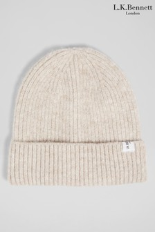 L.K.Bennett Natural Dalston Recycled Yarn Knitted Hat