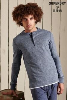 Superdry Blue Organic Cotton Long-Sleeve Henley Top
