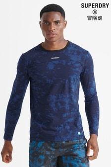 Superdry Blue Sport Run Loose Long Sleeved Top
