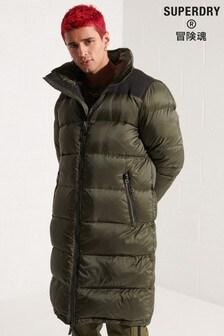 Superdry Green Longline Down Puffer Coat