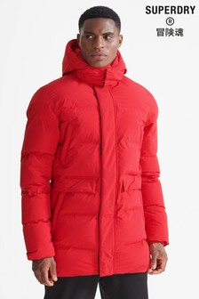 Superdry Red Sport Train Heavyweight Puffer Coat