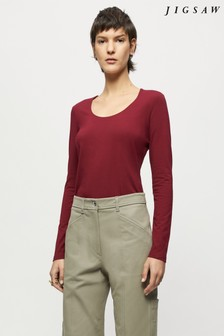 Jigsaw Red Double Front Scoop T-Shirt