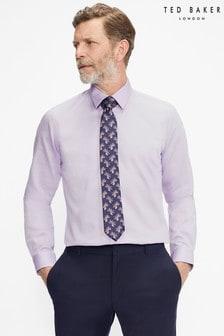 Ted Baker Lilac Napless Slim Fit Plain Shirt