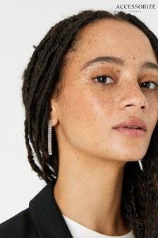 Accessorize White New Decadence Baguette Long Drop Earrings
