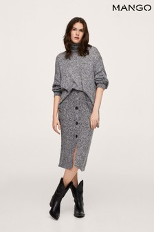 Mango Grey Buttoned Knit Skirt