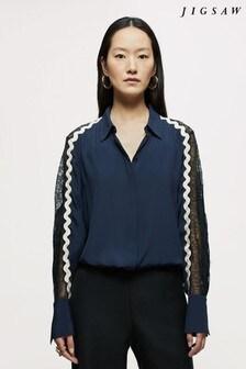 Jigsaw Blue Mixed LaceTrim Shirt