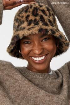 Accessorize Natural Leopard Fluffy Bucket Hat