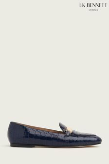 L.K.Bennett Navy Primrose Metal Bar Classic Loafers