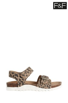 F&F Tan Younger Girl Leopard Footbed Sandals