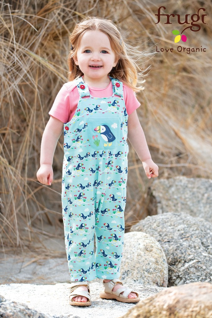 Girls Frugi Organic Puffin Print Soft Kneepatch Dungarees -  Blue