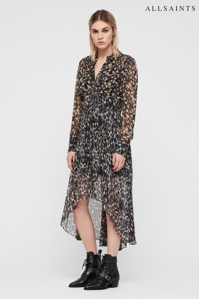 Womens All Saints Grey Leopard Floral Liza Midi Dress -  Grey