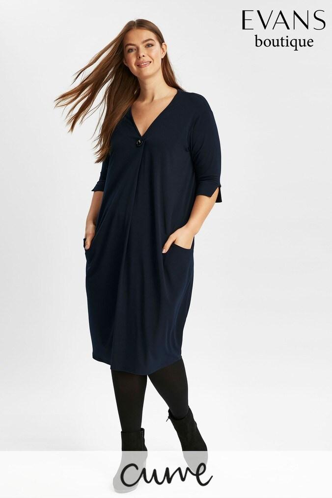 Womens Evans Blue Cocoon Pocket Dress -  Blue