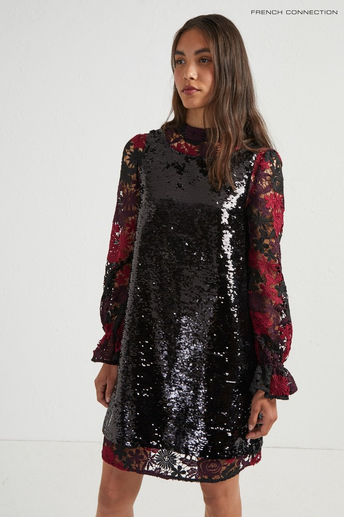Womens French Connection Black Lace And Sequin Dress -  Black