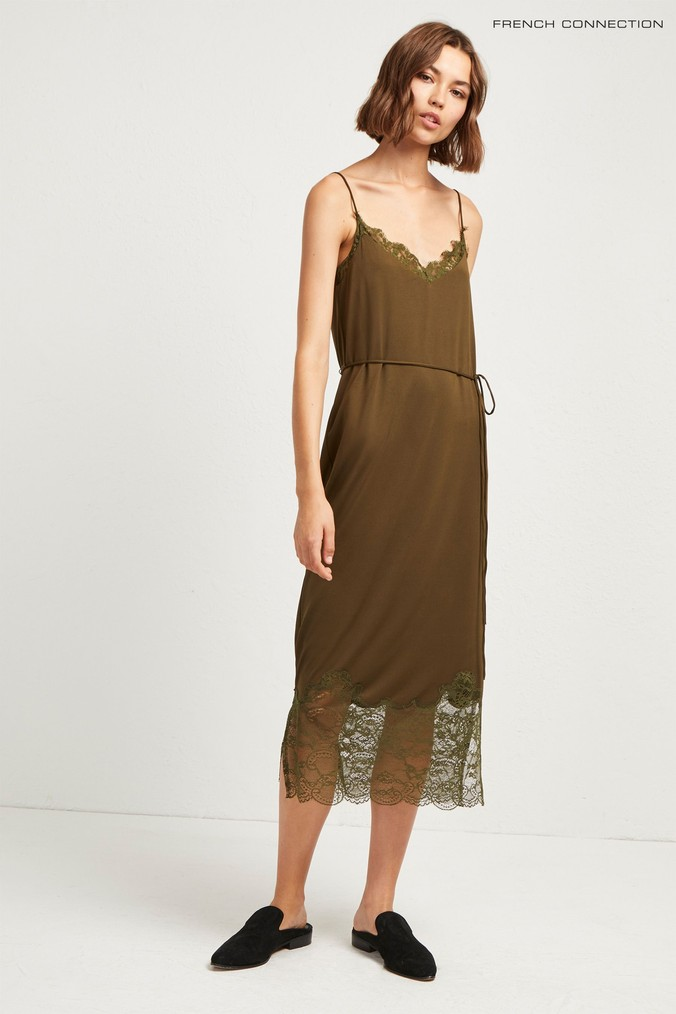 Womens French Connection Green Rosemaria Lace Jersey Dress -  Green