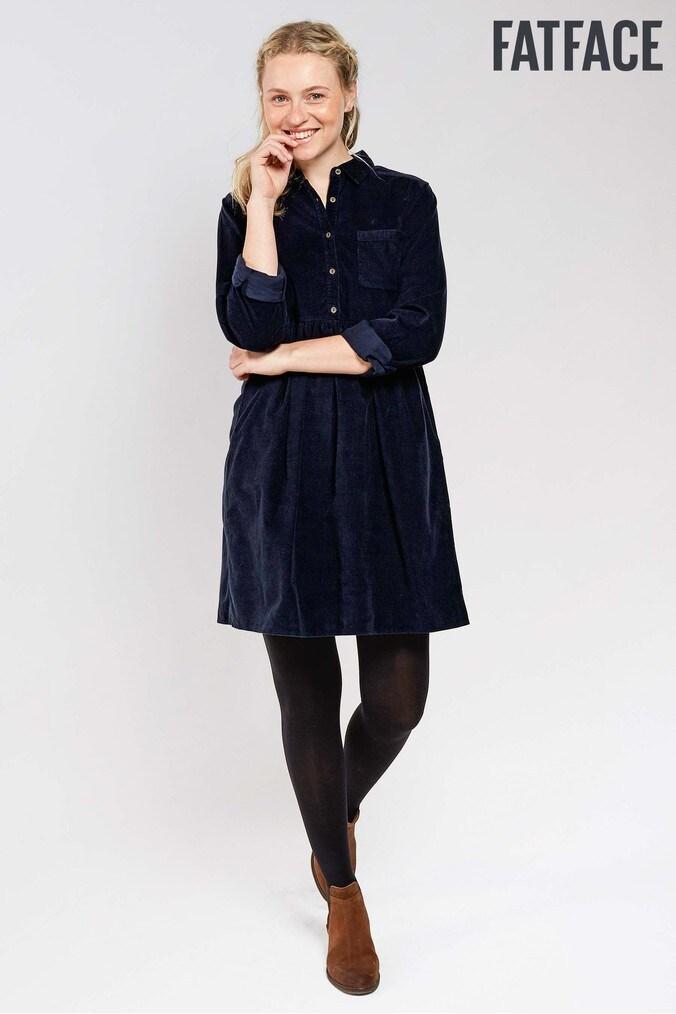 Womens FatFace Navy Lena Cord Shirt Dress - Blue  125e25beb
