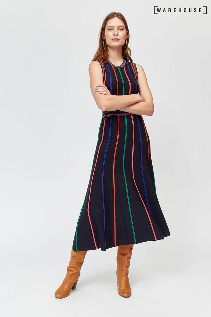 Womens Warehouse Black Multi Stripe Knitted Dress -  Black