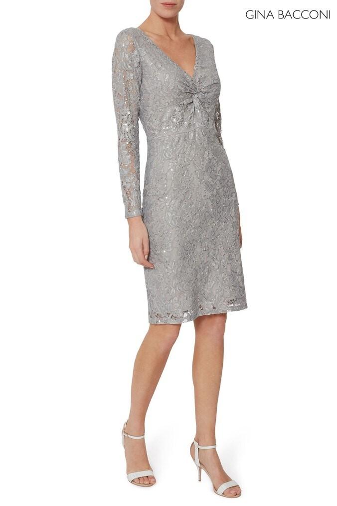 Womens Gina Bacconi Grey Janella Sequin Lace Dress -  Grey