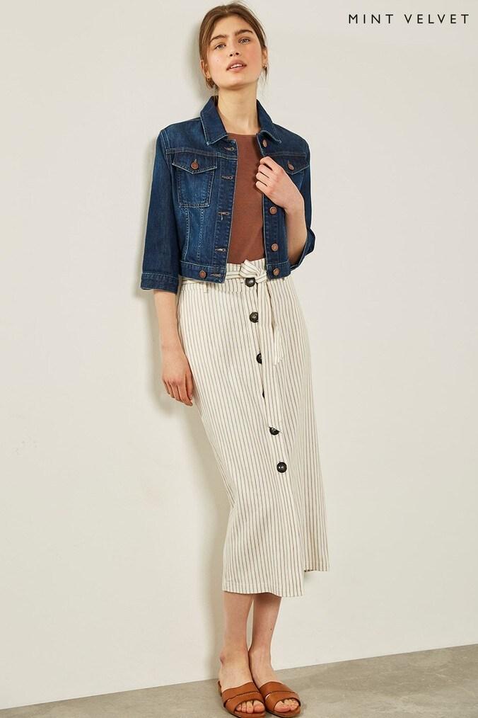 Womens Mint Velvet Stripe Paperbag Pencil Skirt -  White