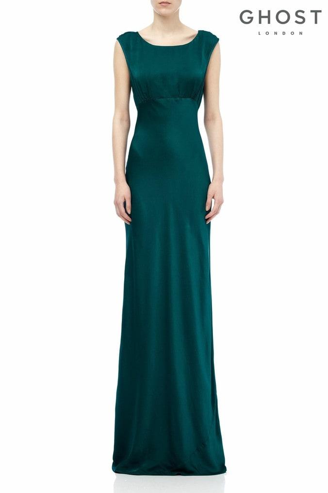 Womens Ghost London Green Salma Emerald Satin Dress -  Green
