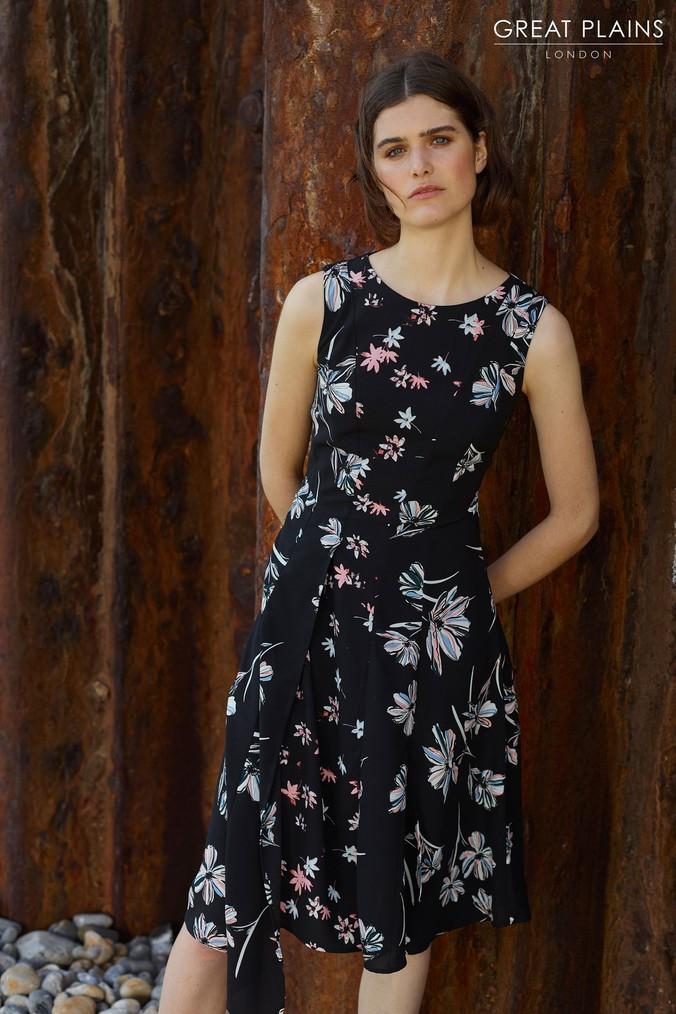 Womens Great Plains Black Camilla Bloom Panel Dress -  Black