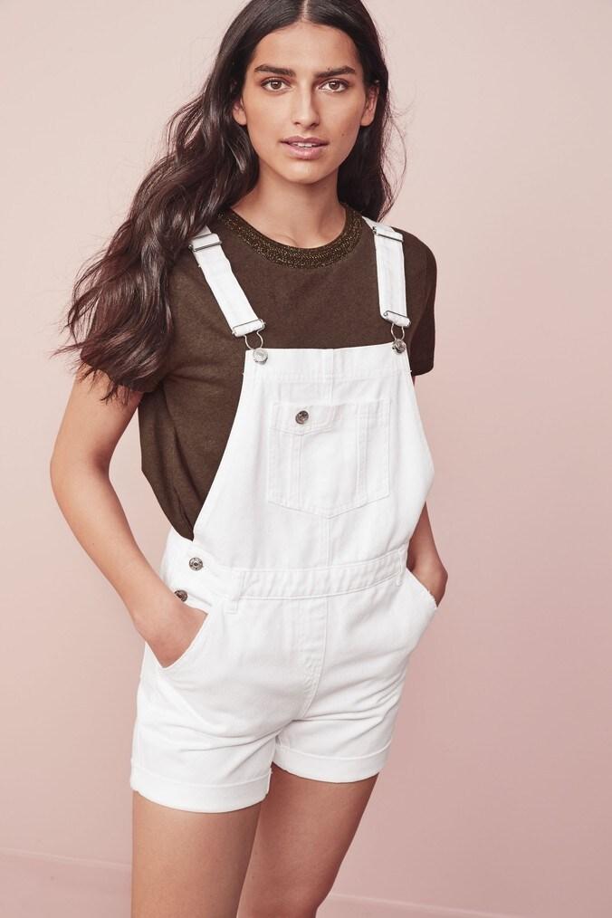 Womens Next White Dungaree Shorts -  White