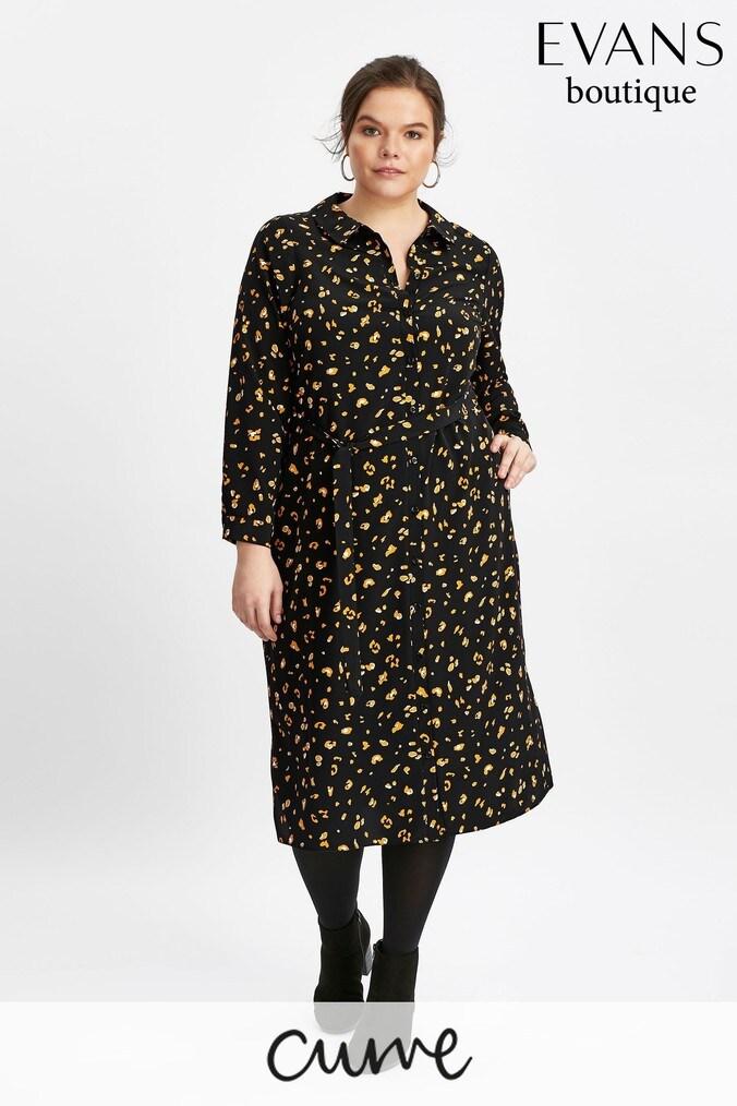 2d37bc4d403f02 Womens Evans Black Animal Print Shirt Dress - Black | £45.00 ...