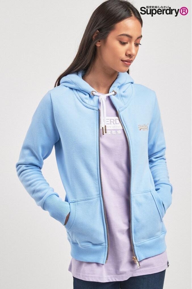 36b7b128ab0d3 Womens Superdry Blue Lux Zip Hoody - Blue