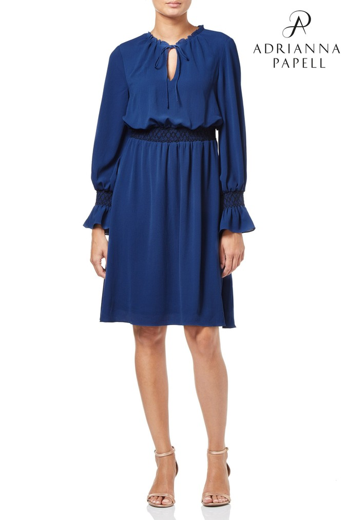 Womens Adrianna Papell Blue Pebble Chiffon Boho Dress -  Blue