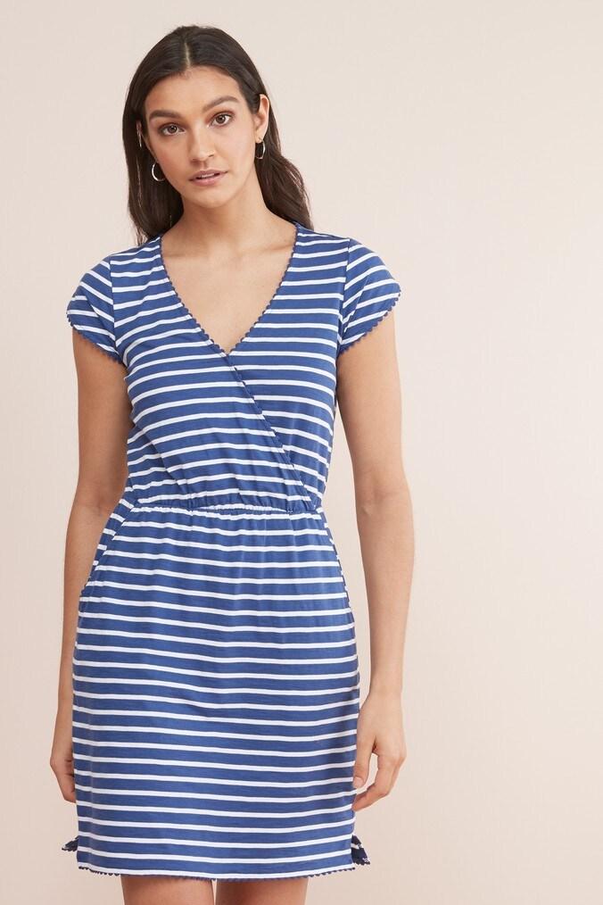 Womens Next Blue/White Pocket Dress -  Blue