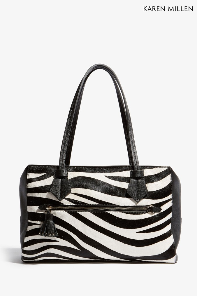 16277ff79b9 Womens Karen Millen Zebra Print Zip Top Tote Bag - Natural | £250.00 ...