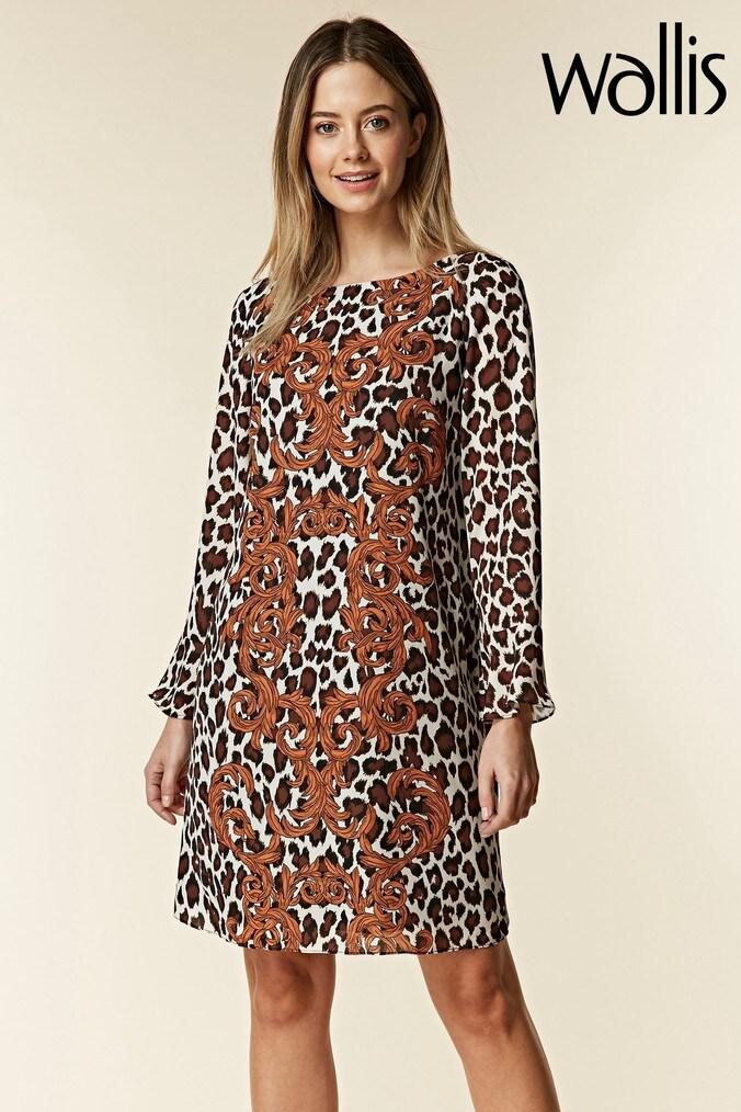 womens wallis petite leopard baroque swing dress -  black