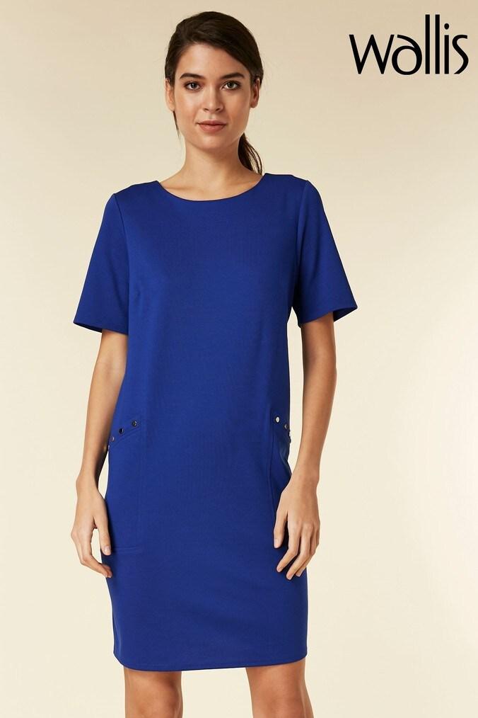 womens wallis petite blue stud shift dress -  blue
