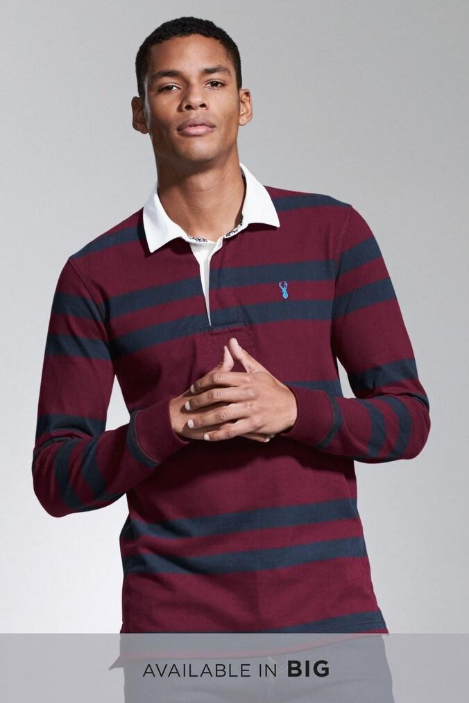 b5d5adb67fa5 Mens Next Burgundy Stripe Rugby Shirt - Purple