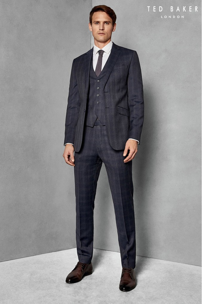e20317d49ae4c3 Mens Ted Baker Navy Rotaten Timeless Check Suit - Blue