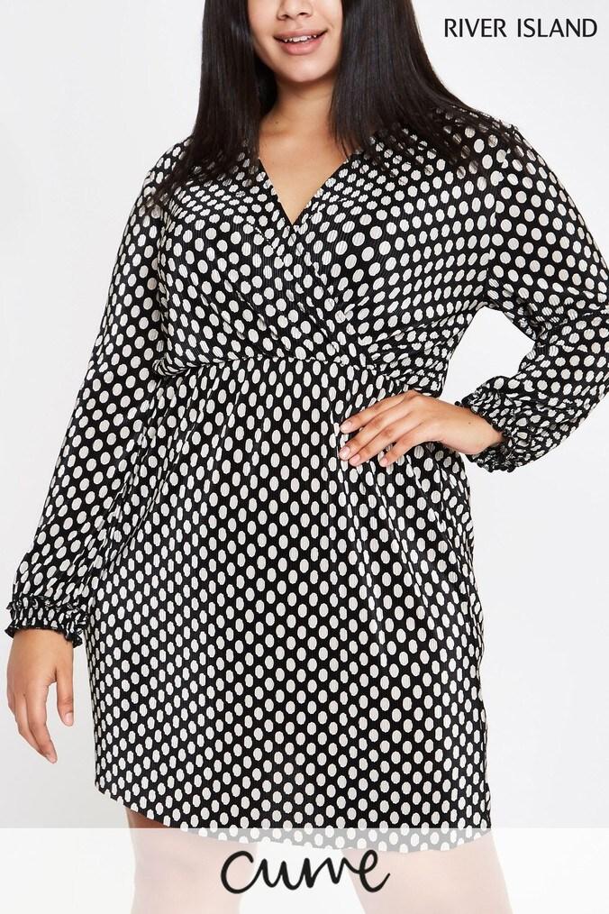 womens river island curve polka dot dress -  natural