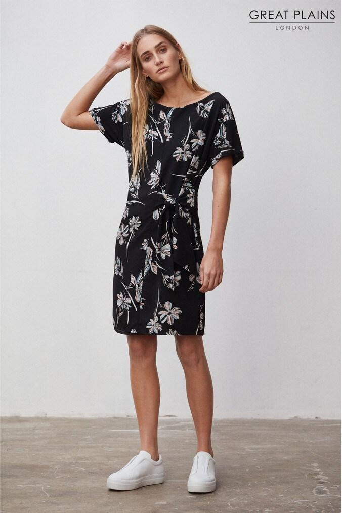Womens Great Plains Black Camilla Bloom Mix Tie Dress -  Black