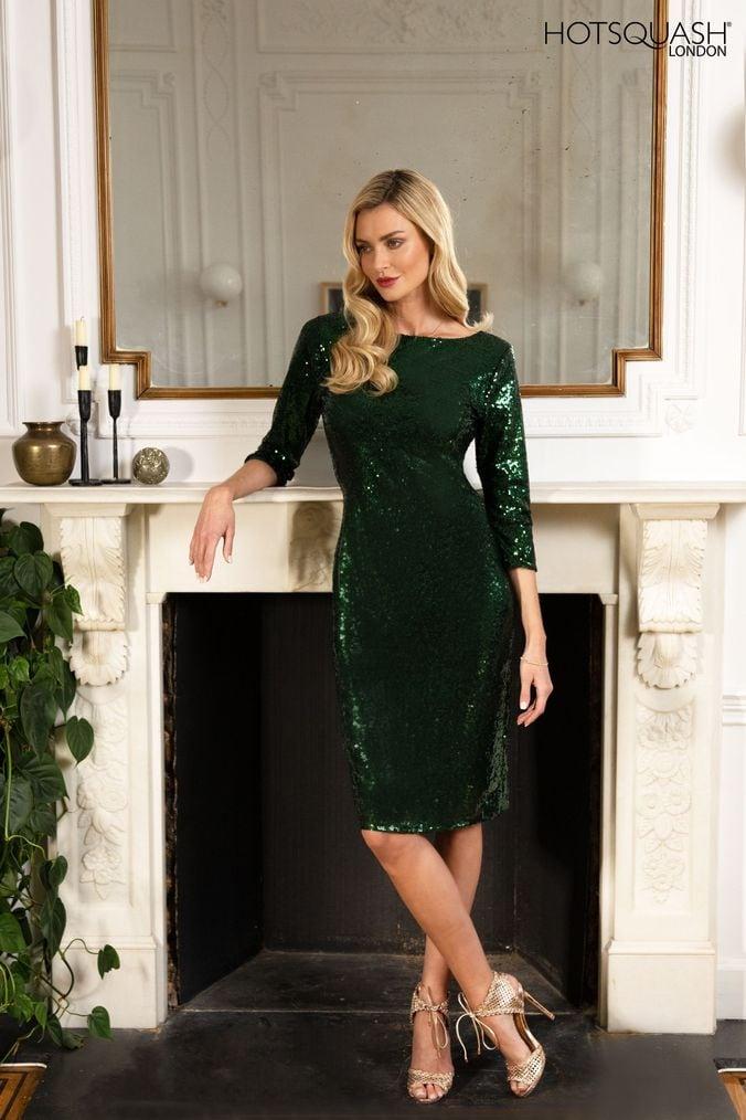 Womens HotSquash Bottle Green Sequin Dress -  Green