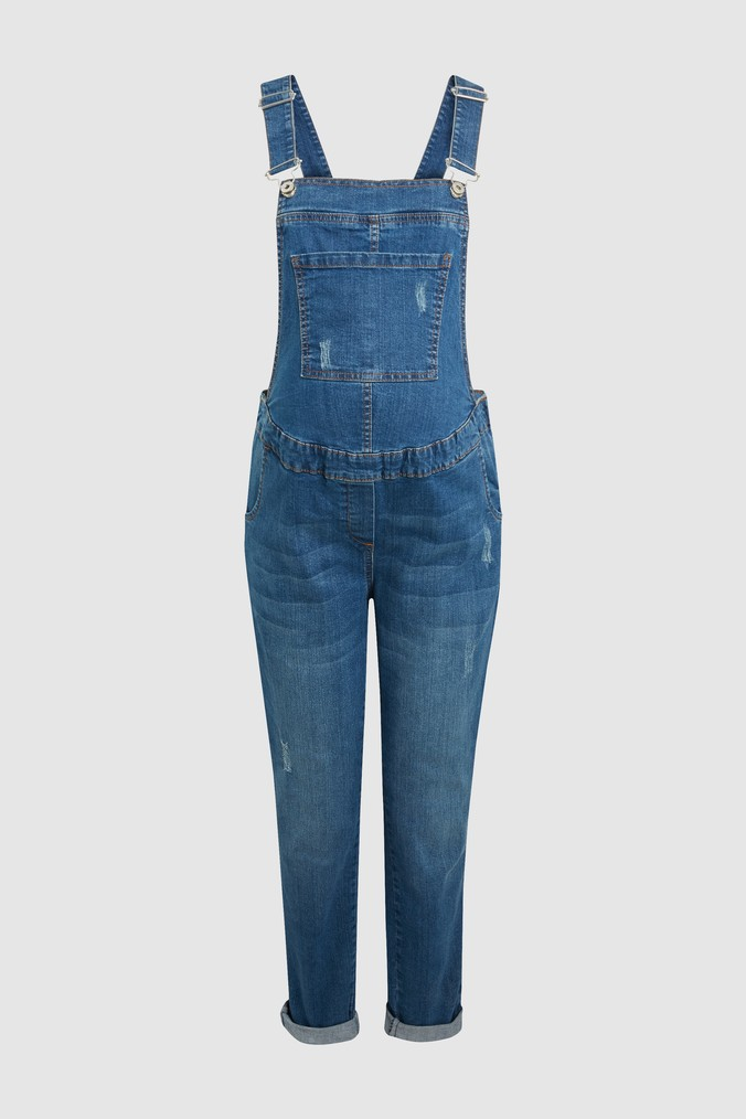 Womens Next Denim Mid Blue Maternity Dungarees -  Blue