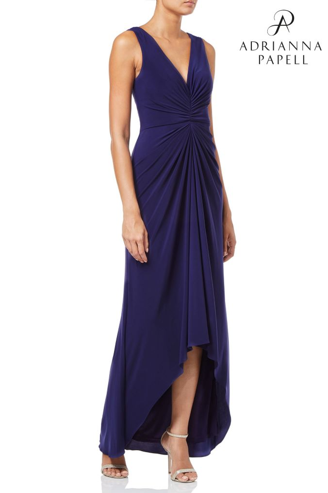 womens adrianna papell blue petite jersey draped dress -  blue