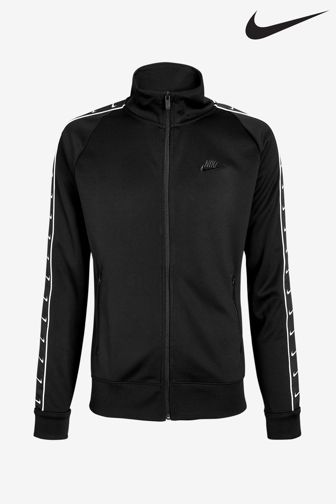 436f79f4d1c7 Mens Nike Mini Swoosh Taped Track Jacket - Black
