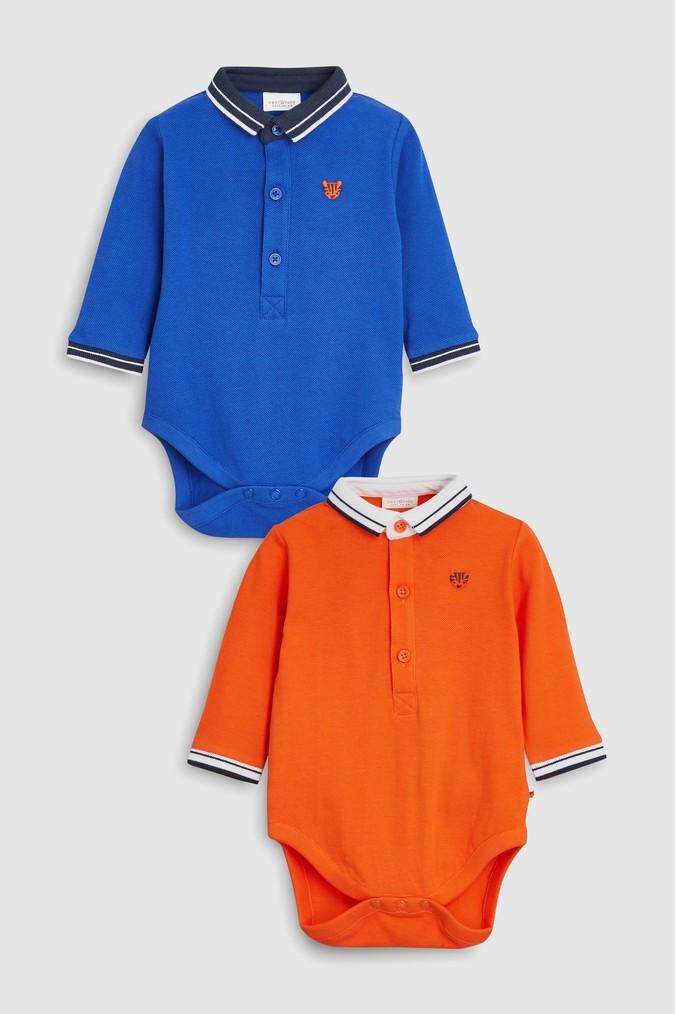 204386efd Boys Next Blue Orange Poloshirt Bodysuits Two Pack (0mths-2yrs ...