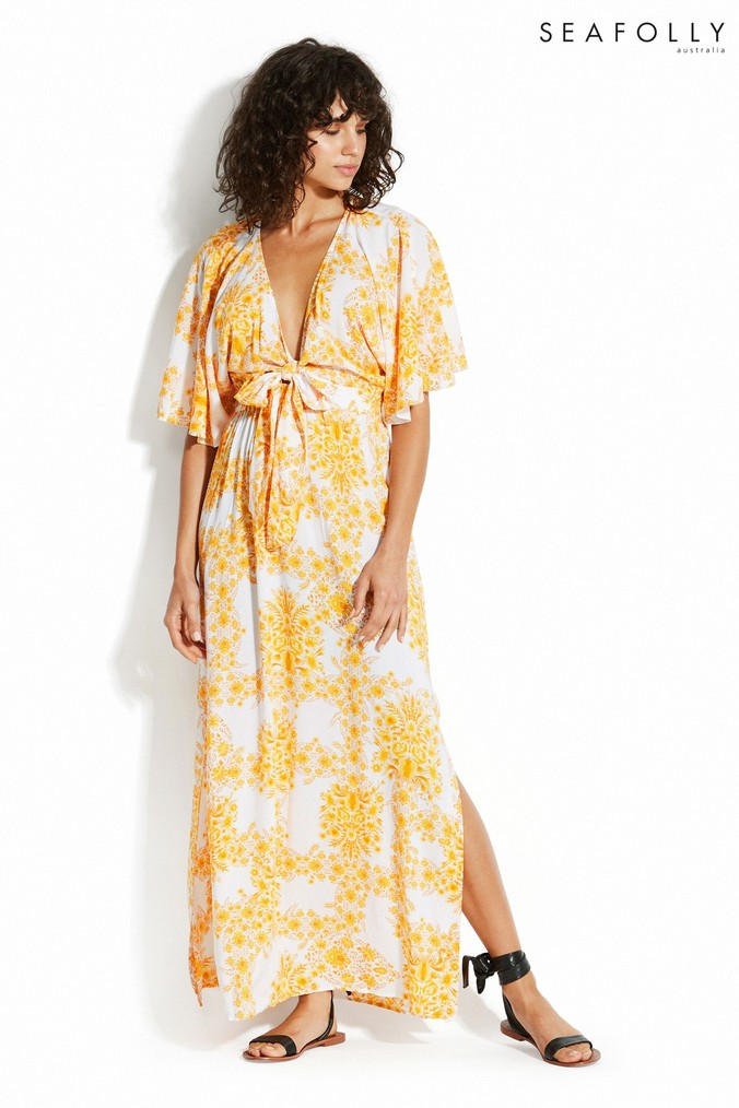 Womens Seafolly Buttercup Sunflower Maxi Dress -  Yellow