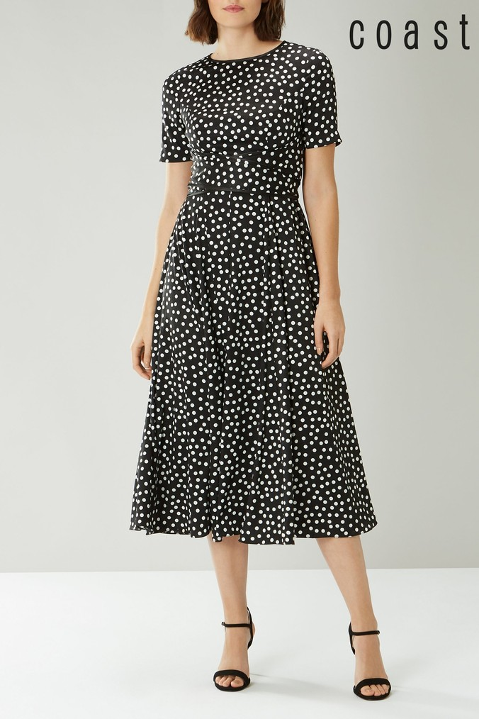 Womens Coast Mono Sarah Spot Dress -  Black