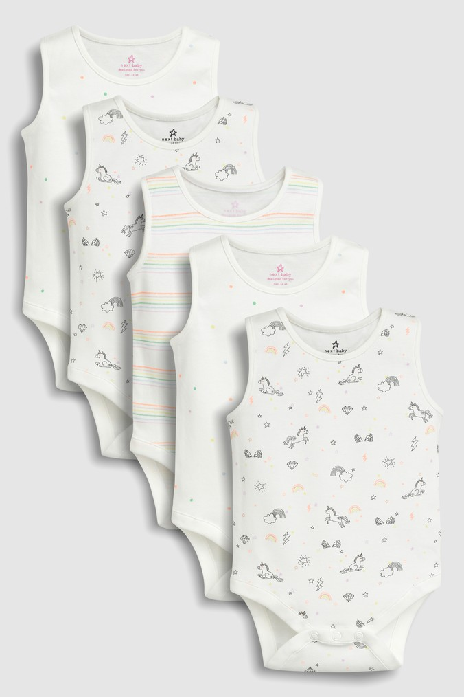5b581aae3394 Girls Next Multi Unicorn Vests Five Pack (0mths-2yrs) - White ...